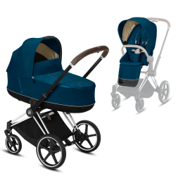 Коляска Cybex Priam Premium Mountain Blue 2 в 1 шасси chrome brown