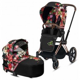 Cybex Priam Lux 2 в 1 Spring Blossom Dark шасси rose gold