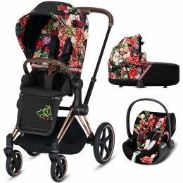 Cybex Priam Lux 3 в 1 Spring Blossom Dark шасси rose gold