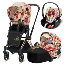 Коляска Cybex Priam 3 в 1 Spring Blossom Light шасси rose gold