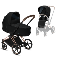 Коляска Cybex Priam Premium Deep Black 2 в 1 шасси rose gold