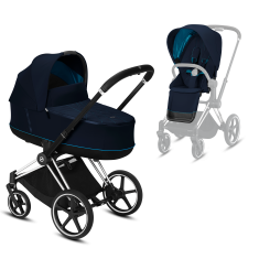 Коляска Cybex Priam Premium Navy Blue 2 в 1 шасси chrome black