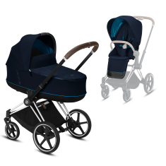 Коляска Cybex Priam Premium Navy Blue 2 в 1 шасси chrome brown