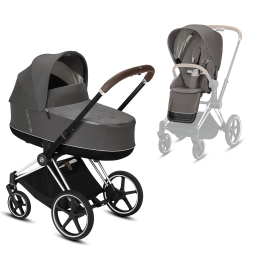 Коляска Cybex Priam Premium Soho Grey 2 в 1 шасси chrome brown
