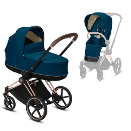 Коляска Cybex Priam Premium Mountain Blue 2 в 1 шасси rose gold