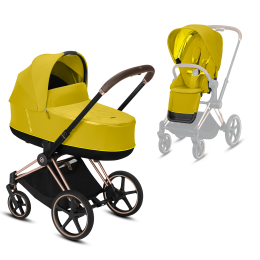 Коляска Cybex Priam Premium Mustard Yellow 2 в 1 шасси rose gold