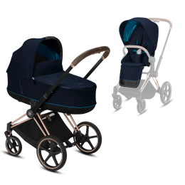 Коляска Cybex Priam Premium Navy Blue 2 в 1 шасси rose gold